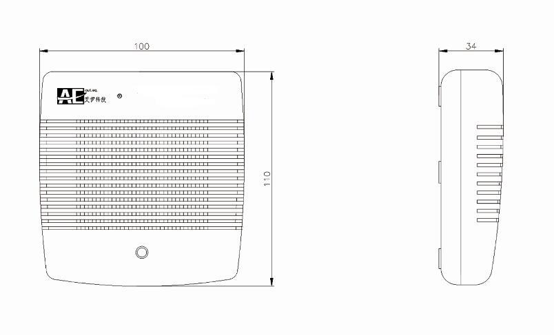 AGD200地下车库一氧化碳检测仪尺寸图