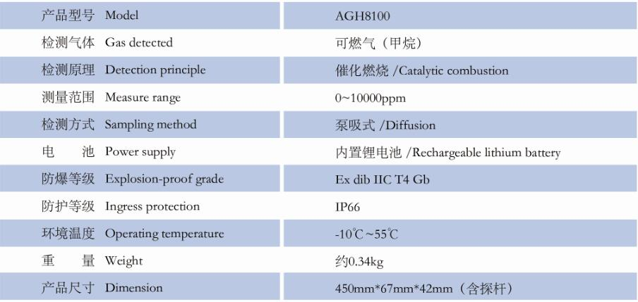 AGH8100便攜燃氣泄漏檢測儀產品參數